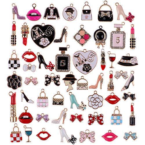 G.C 55Pcs Women Assorted Enamel Charms Lipstick Perfume Makeup Charm Pendants DIY Necklace Bracelet Earring for Jewelry Making