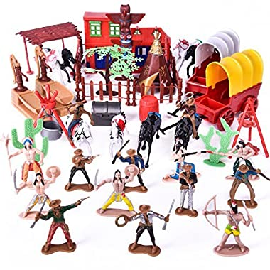Wild West Cowboys and Indians Toy Plastic Figures, Toy Soldiers Native American Action Figurines, Boy's War Game Educational Toys - 60 PCs