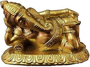Ganesha Buddha Statue, Meditation Ornament, Resin Sleeping Elephant God Sculpture, Living Room Home Garden Decor Feng Shui...