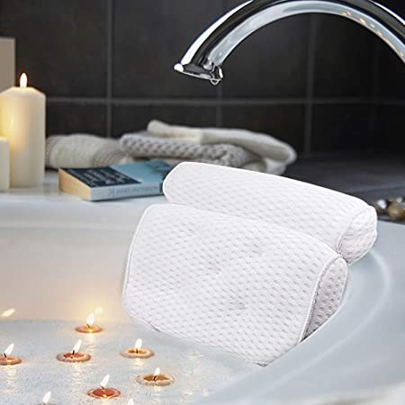 Amazon Com Amazefan Bath Pillow Bathtub Spa Pillow With 4d Air Mesh Technology And 7 Suction Cups Helps Support Head Back Shoulder And Neck Fits All Bathtub Hot Tub And Home Spa