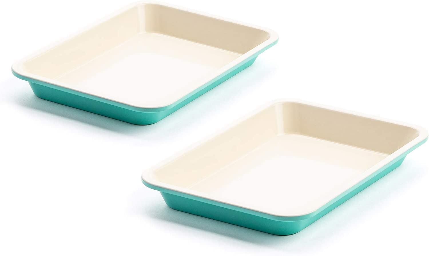 9 x 7 CC003908-001 Set of 2 GreenLife Healthy Ceramic Nonstick Turquoise Toaster Oven Sheet Pans