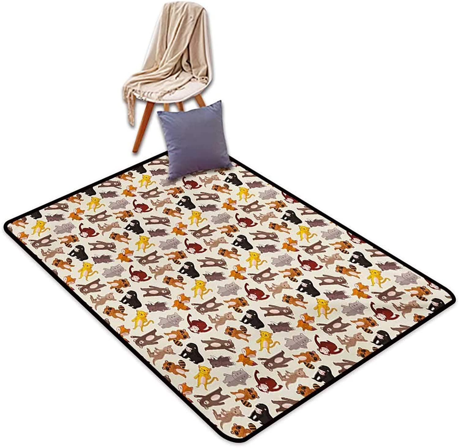 Cartoon Animal Large Outdoor Indoor Rubber Doormat Collection of Friendly African Jungle Animals Happy Mammals Life in Forest Water Absorption, Anti-Skid and Oil Proof 48  Wx59 L Multicolor
