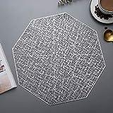 Tovagliette,Cuscinetto isolante vuoto ottagonale creativo, tovaglietta semplice colore puro antiscottatura stile nordico 8 pezzi-argento