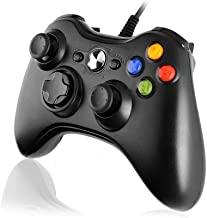 Cypin Xbox 360 Controller, Xbox 360 Wired Gamepad Joystick with Dual-Vibration Turbo and Trigger Buttons for Xbox 360 Console, Window 7, 8, 10, XP (Black)