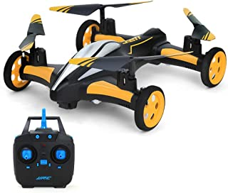 MKLOT JJRC H23 Flying Car Drone Air Ground Dual Mode Quadcopter 3D Flips 6-Axis RTF w/One-Key Return Headless Mode Led Lights Helicopter Best Gift for Boys Kids Children - Yellow