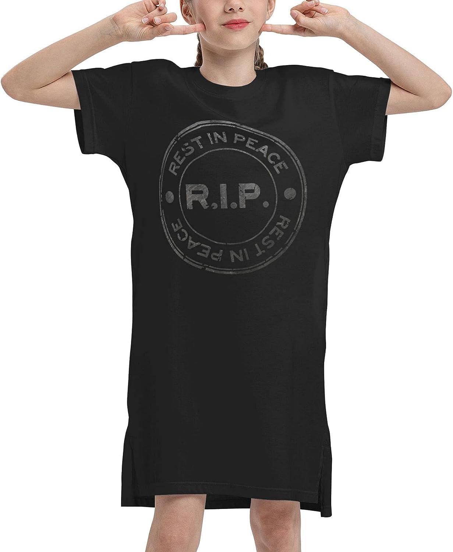Girls' Soft Cotton Short Sleeve Dress Rest in Peace R.I.P Summer Girls Casual Short Dresses Jumpskirt Playwear Dresses