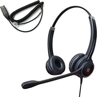 IPD IPH-255 Optimo-X Duo Ear Noise canceling, Corded Headset with HIS-02 Cable for Avaya IP1608,1616, 9610, 9620, 9620L, 9...