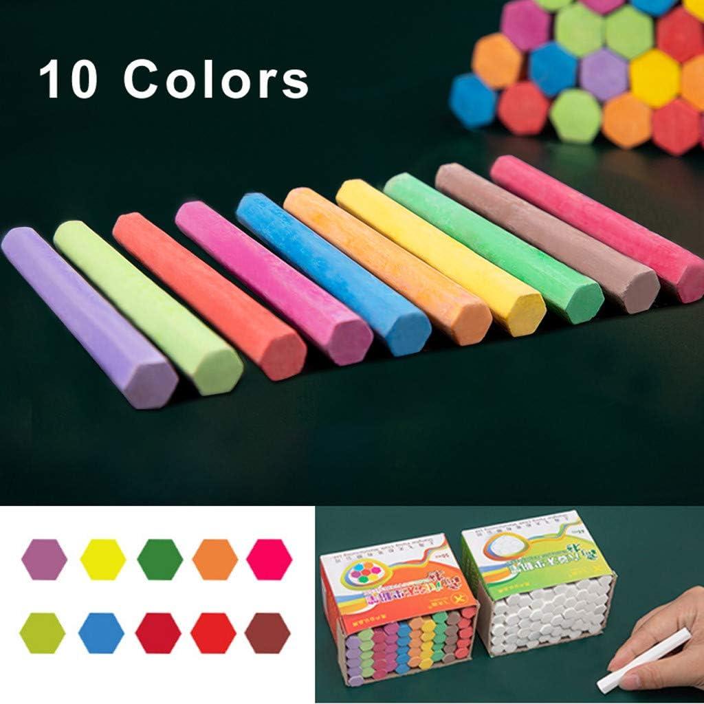 FRAUIT 48//50pcs Gesso Senza Polvere per Lavagna Gessetti Lavabili Colorati Luminosi per Bambini Gessi Gessetto da Strada