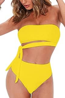 Women's Sexy Bandeau Tie Waist High Waisted Two Pieces Bikini Set Swimsuit