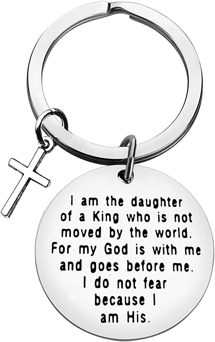 Christian Gifts Keychain for Women Girls Religious Gift I Am The Daughter of A King Who is Not Moved by The World Religious Keyring Inspirational Christian Jewelry for Women Baptism Gift for Her : Clothing, Shoes & Jewelry