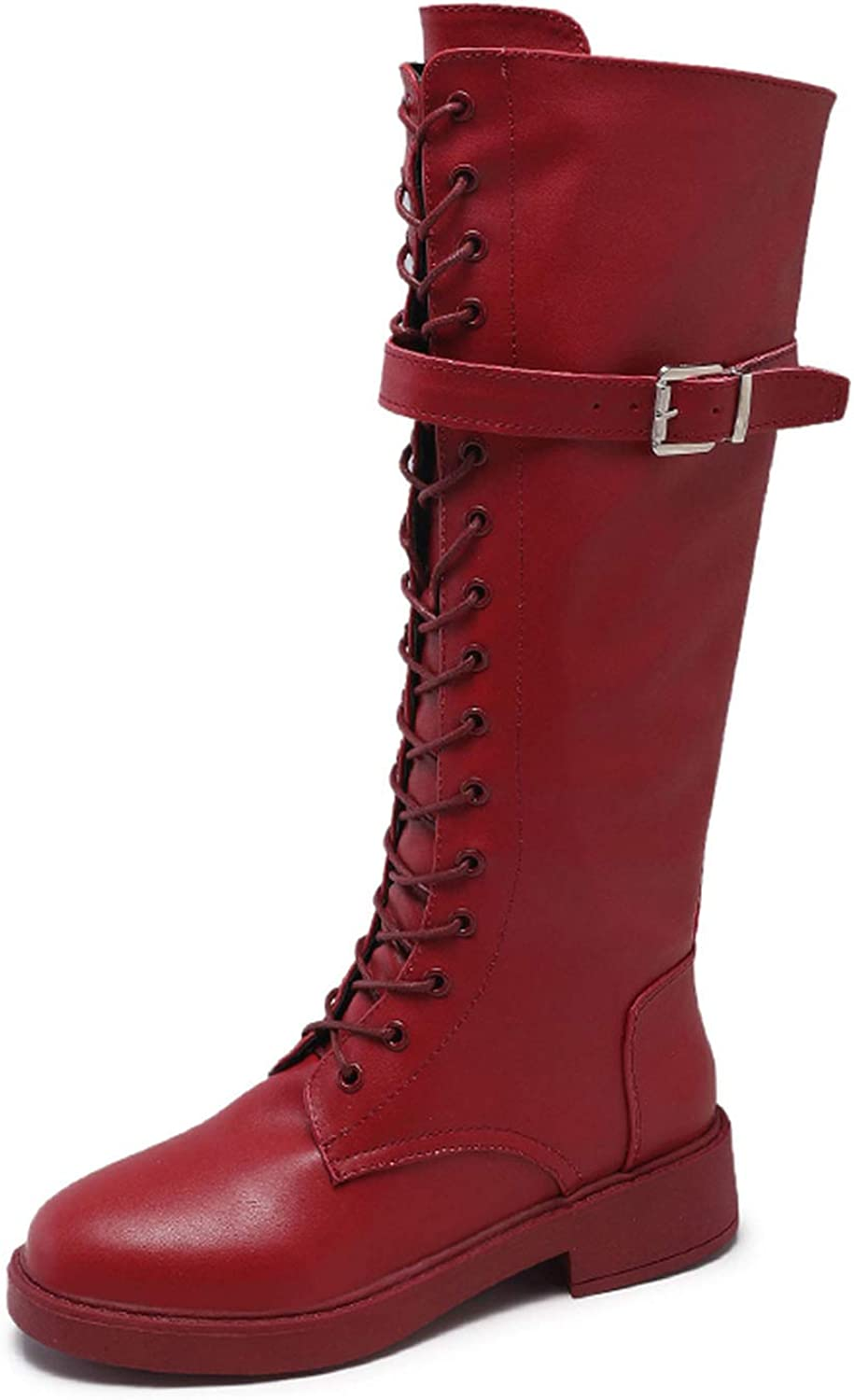 Together to create a miracle Women's Leather Boots Thigh High Heel Lace Up Privacyy Over The Knee Boots Dance Party shoes for Women