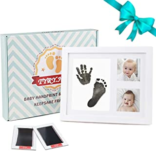 TYRY.HU Baby Handprint Kit Footprint Photo Frame Babyprints Picutre Frames Keepsake for Newborn Boys and Girls Personalised Shower Gift Set Room Wall Nursery Decorations, White