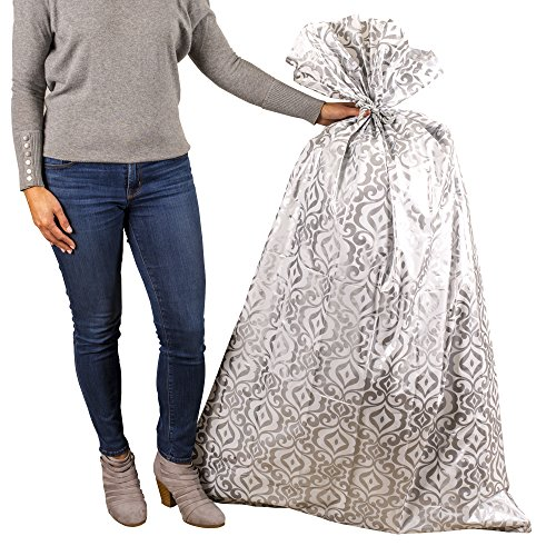 Hallmark 56' Large Plastic Gift Bag (Silver Damask) for Engagement Parties, Bridal Showers, Weddings, Valentines Day, Holidays or Any Occasion