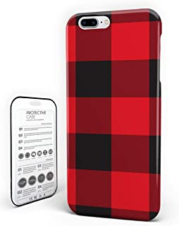 Phone Case Protectivedesign Hard Back Case Red and Black Buffalo Plaid Compatible Slim Case for iPhone 7 Plus/iPhone 8 Plus
