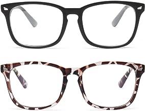 Livho 2 Pack Blue Light Blocking Glasses, Computer Reading/Gaming/TV/Phones Glasses for Women Men,Anti Eyestrain & UV Glare