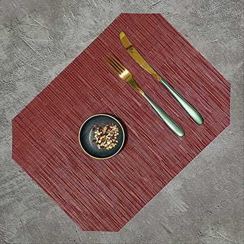Mantel Individual de PVC Lavable Octogonal de Color sólido Antideslizante y Anti escaldado Utensilios de Cocina para el hogar Posavasos Estera de Vino 40 * 30 cm 4 PiezasEstilo B