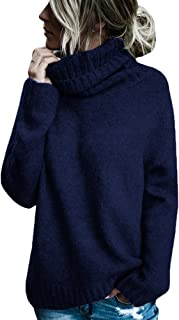 Womens Turtleneck Long Sleeve Chunky Knit Pullover Sweater Casual Winter Warm Jumper Tops