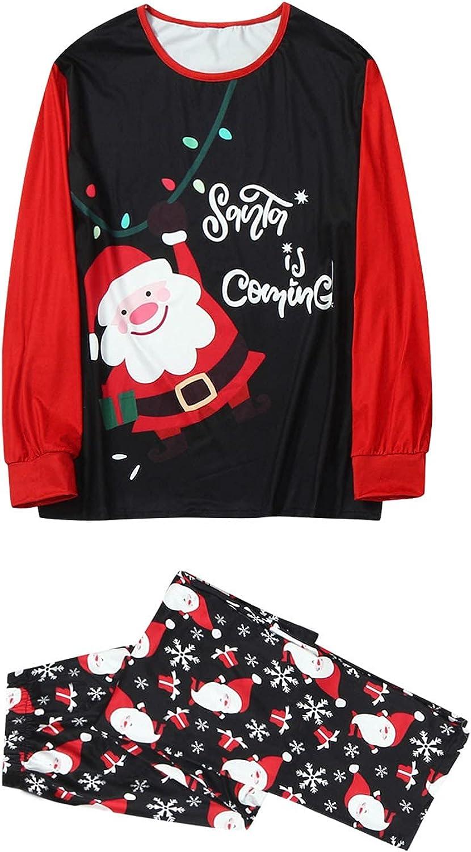 Goldweather Christmas Family Pajamas Matching Sets Santa Claus Pattern Blouse Tops+Pants Xmas Pjs Loungewear Sleepwear Outfit