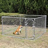 JAXPETY Foldable Metal Pet Exercise and Playpen 7.5 x 7.5 Ft Heavy Duty Outdoor Chain Link Dog Kennel Enclosure w/ Door