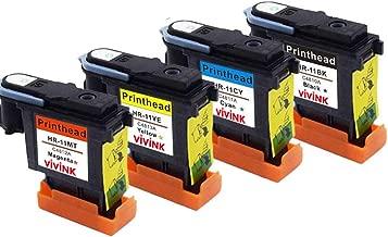 VIVINK Cabezal de impresión remanufacturado de Repuesto para Cabezal de impresión HP 11 Compatible con C4810A C4811A C4812A C4813A (Negro, Cian, Magenta, Amarillo-4 Unidades)