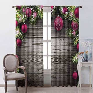 GUUVOR Christmas Wear-Resistant Color Curtain Old Fashioned Concept with Twigs and Balls on Rustic Wood Vintage Design Print Waterproof Fabric W42 x L63 Inch Brown Pink