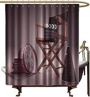 Shower Curtains for Bathroom Window Directors Chair Seat Movie Lover Film Set Studios Strip Ribbon Storyboard Render Art Digital Print Aubergine Purple Brown,W60 x L72,Shower Curtain for Shower st