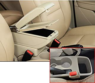 MyGone Car Center Console Armrest for Hyundai Accent Solaris 2011-2015 2012 2013 2014 2015 Storage Box Accessories, Arm Rest, Built-in 7USB Ports, with Cup Holder, Removable Ashtray, Beige