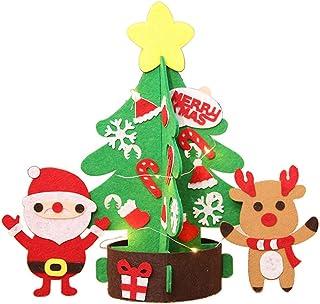 BESTOYARD Mini árbol de Navidad de Mesa Luces con Estrella Papa Noel y Muñeco de Nieve Decoracions Navideñas Decoracion de Mesa para Navidad 32cm Tamaño S