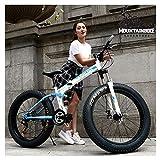 NENGGE Bicicleta Montaña Profesional Doble Suspensión para Hombre Mujer, Adulto Plegable Bicicleta BTT con Freno Disco & Neumático Gordo, Marco Acero Alto Carbono MTB,Azul,26 Inch 7 Speed