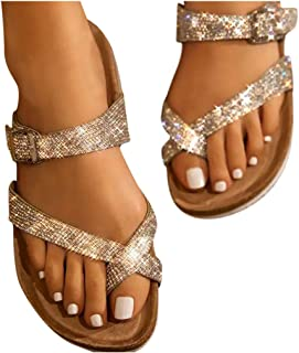 Baiggooswt Women Flip Flops Flat Belt Buckle Strappy Open Toe Beach Shoes Fashion Rhinestones Clip Toe Slippers Sandals