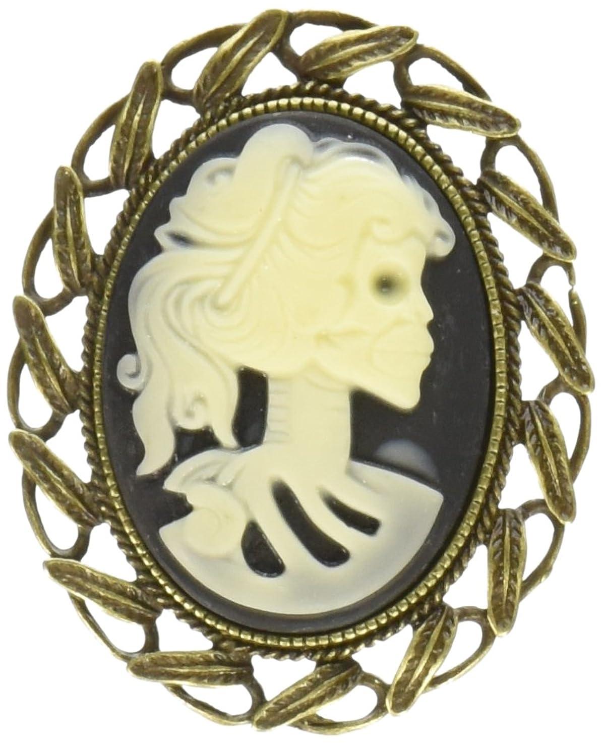 Solid Oak Steampunk Metal Pendant 1/Pkg-Skull Cameo