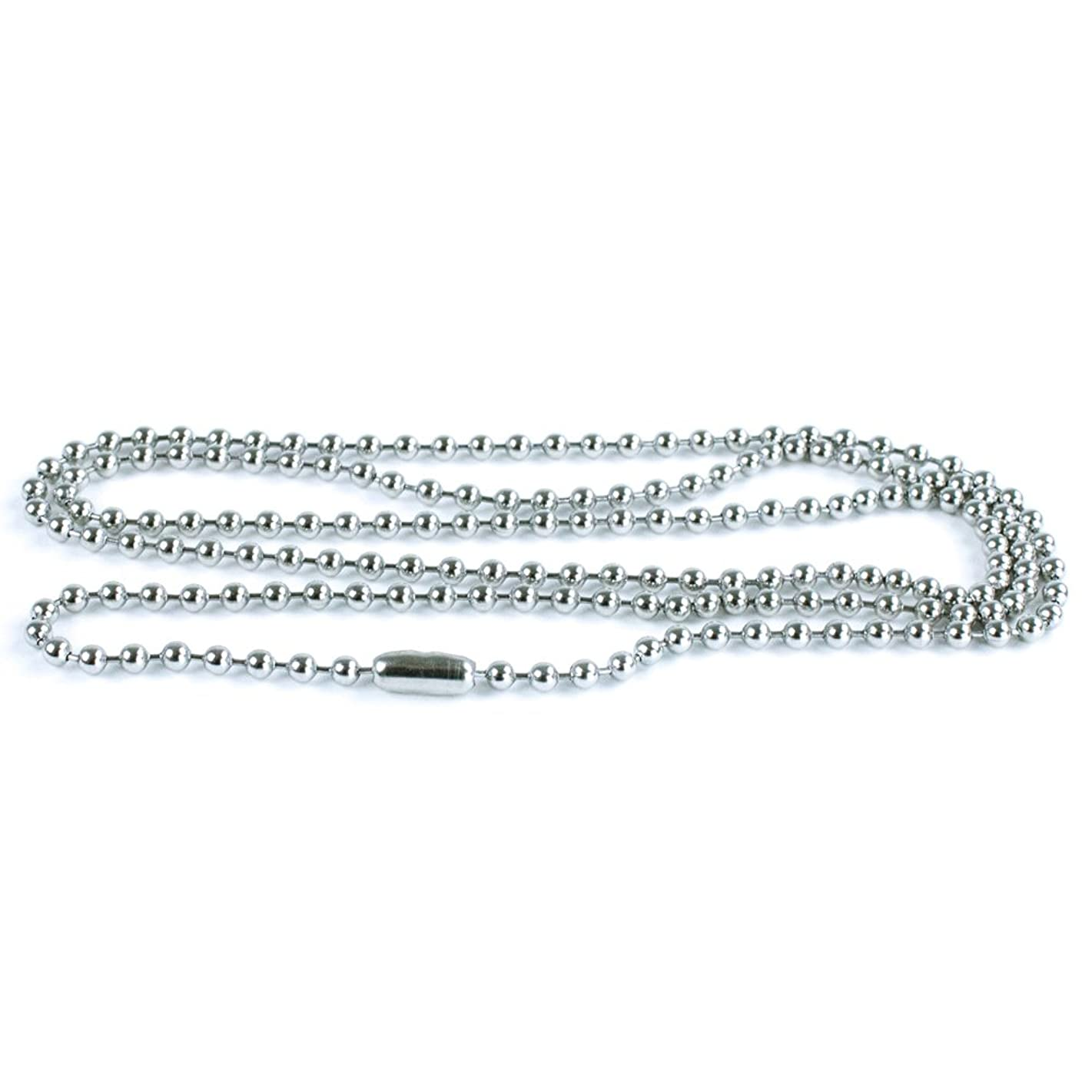50 Pack Silver Ball Chain Dog Tag Necklace – Paracord Planet 24 Inch Long 2.4mm Bead Size – Adjustable Metal Bead Chain Matching Connector Jewelry