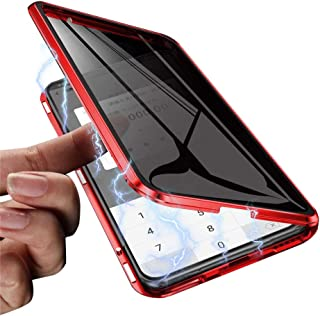 Hapo Anti-peep Magnetic Case for iPhone XR 6.1 inches Anti-Spy Tempered Glass Phone Cases Cover,Anti Peeping Adsorption Privacy Screen Protector (Red)