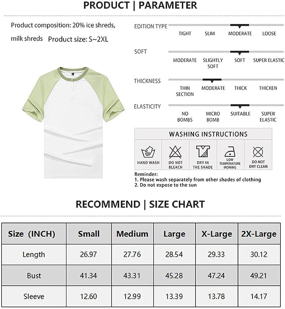 DUOFIER Men's Summer Henley Shirts Front Placket Raglan Short Sleeve Baseball T-Shirts