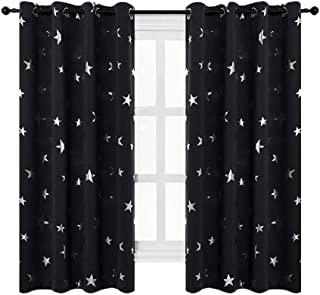 Anjee Black Blackout Curtains with Silver Star Print for Kids Room, Grommet Thermal Insulated Window Curtains, 2 Panels, W52 x L63 Inches, Black