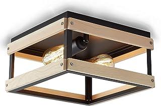ENCOFT Vintage Plafonnier Carré Industriel en Métal et Bois, 2 Lumière Plafonnier Luminaire Interieur pour Chambre Cuisine...