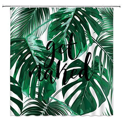 Grüne Blätter Duschvorhang Tropische Banane Palmblatt Schwarze Schrift Get Naked Funny Aquarell Frühling Blumen Pflanze Dschungel Botanische Natur Kreative Badezimmer Gardinen Dekor Stoff mit Haken