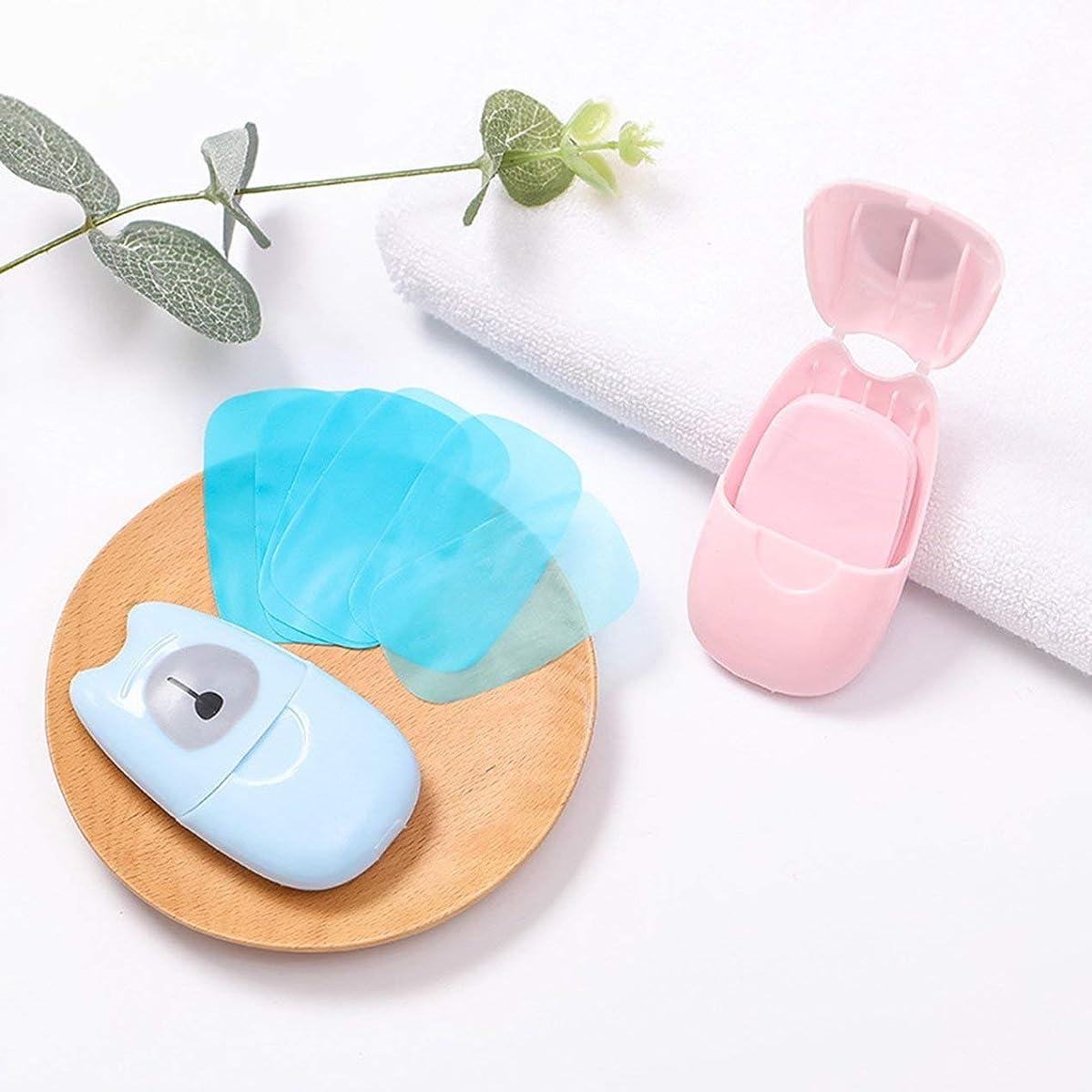 箱入り石鹸紙旅行ポータブル屋外手洗い石鹸の香りのスライスシート50ピースプラスチックボックス付きミニ石鹸紙(色:ピンク)