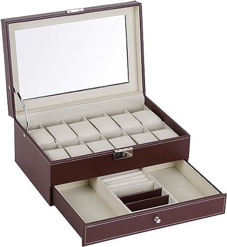 Hossejoy Leather Watch Box 12 Mens Watch Organizer with Jewelry Display Drawer Lockable Watch Case Organizer,Coffee