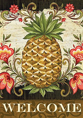 """Toland Home Garden 101163 Pineapple & Scrolls 28 x 40 Inch Decorative, (28"""" x 40""""), Double Sided House Flag"""