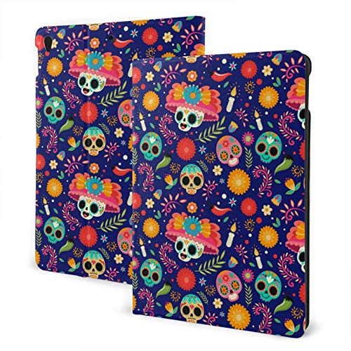Compatible with Ipad Air3 10.5 Ipad Case Apple Generation Skull with Flower Hat Screen Protector Mini Case 2020 Anti-Slip Full Protection Standing Cover Slim Fold Auto Wake/Sleep