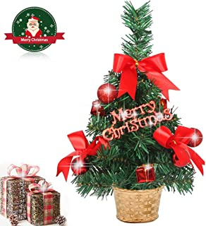 VOSTOR Mini Desktop Christmas Tree, 12 inch Artificial Tabletop Xmas Tree with Ornaments in Basket, Little Christmas Tree for Xmas Party Home Office Decoration Red