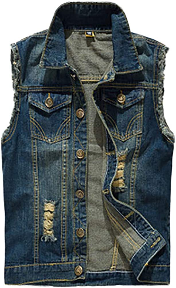 iYYVV Mens Denim Vest Casual Cowboy Jacket Ripped Holes Sleeveless Tops