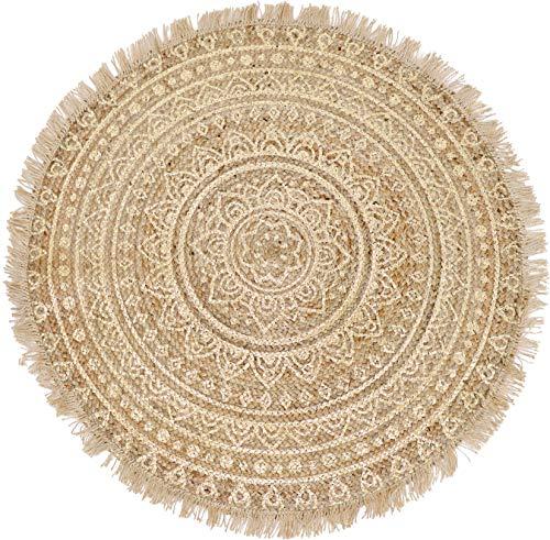 Hoff Interieur Teppich rund mit goldenem Print - 90 cm geflochtener Jute Teppich orientalischer Wohnzimmer Teppich