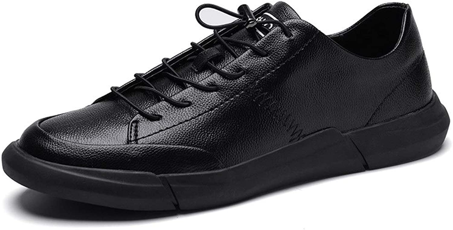 Easy Go Shopping Sneaker For Men Sports shoes Lace Up shoes PU Leather Low Top Round Toe Lightweight Flexible Cricket shoes (color   Black, Size   5.5 UK)