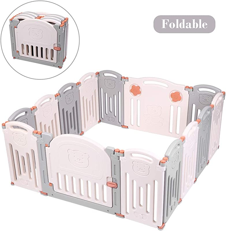 JOYMOR 14 Panels Foldable Baby Playpen BPA Free Safety Play Yards Kids Activity Center With Locked Door Home Indoor Outdoor Bear Fence