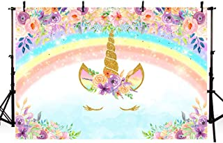MEHOFOTO Rainbow Unicorn Photo Studio Booth Background Props Colorful Floral Princess Glitter Magical Happy Birthday Party Decorations Banner Photography Backdrops for Cake Table Supplies 7x5ft
