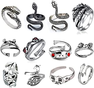 Ricjurzzty 12pcs Frog Ring Set for Women Men, Vintage Snake Rings Cute Animal Open Rings Pack