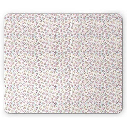 Kwekerij Muis Pad, Pastel Marshmallow Personages Kinderlijke Snoep Gezichten Cartoon Snoepjes, Rechthoek Antislip Rubber Mousepad