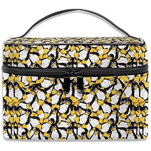 Il pinguino di Linux Borsa per il trucco Borsa per cosmetici Borsa Organizzatore da toeletta grande Da viaggio per donna Uomo Ragazza